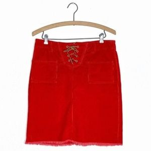 Tommy Hilfiger Red Lace Up Corduroy Skirt sz 9